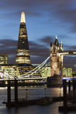 The Shard and Tower Bridge by night, London Stock Photo