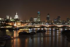 London night scene. St Paul's Cathedral and Blackfriars Bridge by night stock photography