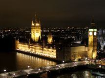 London Night Scene, Big Ben And Westminster Abbey Stock Photos