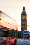 London night scene of Westminster and Big Ben with famous London. Bus driving by Stock Photos
