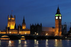 London night skyline. With Houses of Parliament and Big Ben royalty free stock photo