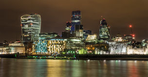 London Night Skyline. Looking across the Thames towards The City Stock Photography