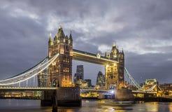 London Night Skyline, Tower Bridge Royalty Free Stock Photography