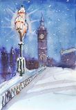 London night street view painting, streetlamp and Big Ben Royalty Free Stock Photos