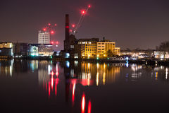 London at night. Thames River at night Chelsea harbor West London England Stock Photos