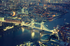 London at night and Tower Bridge Royalty Free Stock Photography