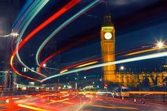 London at night. Night traffic near Big Ben in London Stock Photography