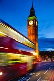 London night traffic scene with Double Decker bus moves along il. London night traffic scene with Doubledecker bus moves along the Westminster Bridge and Stock Images