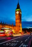 London night traffic scene with Double Decker bus moves along il. London night traffic scene with Doubledecker bus moves along the Westminster Bridge and Royalty Free Stock Photos