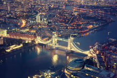 London at night with urban architectures Stock Photography