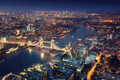 London at night with urban architectures Stock Photos