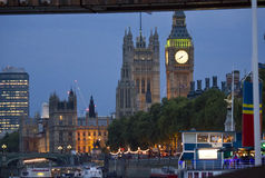 London By night. View of the Big Ben. LONDON, UNITED KINGDOM - SEPTEMBER 11 2015: London By night. View of the Big Ben from the Thames river Royalty Free Stock Image