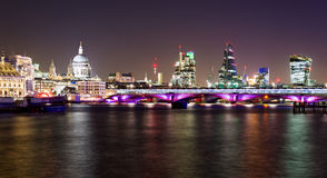 London, night view with Blackfriars bridge. And St Paul's Cathedral Royalty Free Stock Photo