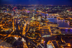 LONDON, Night view City of London. LONDON UK - SEPTEMBER 19, 2015:     London night aerial view Stock Photos