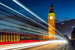 London Night View, Palace of Westminster and Big Ben at dawn wit. H blurred motion of traffic lights. London, England Stock Image