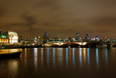 London night view from the Thames 2. View of London at night from the bank of the Thames Stock Photography