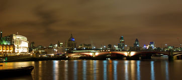 London night view from the Thames. View of London at night from the bank of the Thames Stock Image
