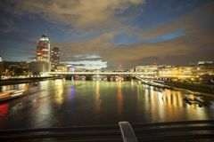 Night view of thames from millenium bridge  in London 2017. London 2017,night view of thames from millenium bridge Royalty Free Stock Photo