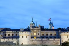 London nights at London Tower castle. During the blue hour Royalty Free Stock Photography