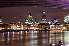 London nights from the piers. With Canary Wharf view Stock Photo