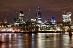 London nights from the piers. With Canary Wharf view Royalty Free Stock Image