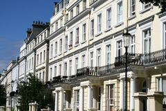 London, Notting-Hill. Frontages in perspective from the Notting-Hill district of London Royalty Free Stock Photo