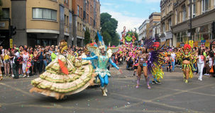 London, Notting Hill carnival. Parade of dancers ann costumes Stock Image