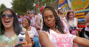 London, Notting Hill carnival. Parade of dancers and costumes Stock Image