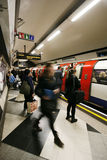 Inside view of London Underground. LONDON - NOV 1: Inside view of London Underground, oldest underground railway in the world, covering 402 km of tracks, on Stock Image