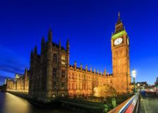 Night view of the famous Big Ben, London, United Kingdom Stock Images