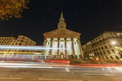Night view of St Martin-in-the-Fields church. London, NOV 14: Night view of St Martin-in-the-Fields church on NOV 14, 2015 at London, United Kingdom stock images