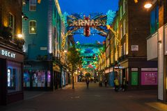 Christmas lights on Carnaby Street, London UK. LONDON - NOVEMBER 18, 2017: Christmas lights on Carnaby Street, London UK. Carnaby Christmas lights feature some Royalty Free Stock Photography