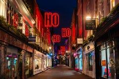 Christmas lights on Carnaby Street, London UK. LONDON - NOVEMBER 17, 2018: Christmas lights on Carnaby Street, London UK. Carnaby Christmas lights feature some stock image
