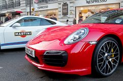 Red Porsche sportscar Royalty Free Stock Images