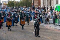 LONDON - NOVEMBER 12 : Irish pipers parading at the Lord Mayor's Royalty Free Stock Photography