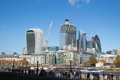 London Skyline over the financial centre stock photos
