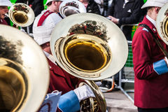 LONDON - NOVEMBER 12 : Reflection in a tuba at the Lord Mayor's Royalty Free Stock Photography