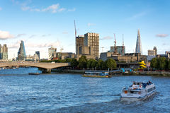 LONDON - NOVEMBER 3 : View along the River Thames in London on N Royalty Free Stock Photography