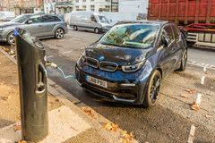 A typical view in London. London November 2018. A view of a BMW recharging in London stock photo