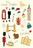 London objects. Vector hand drawn London objects Royalty Free Stock Photography