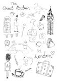 London Objects. Vector set of hand drawn London objects Stock Photos