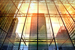 London. Office buildings of Canary Wharf. Modern architecture Stock Photography