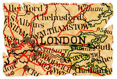 London old map. London, UK on an old torn map from 1949, isolated. Part of the old map series Royalty Free Stock Photos