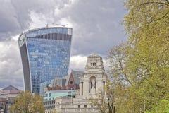 London, old and new. Image taken of 20 Fenchurch Street, aka The Walkie-Talkie, designed by architect Rafael Vinoly, london, uk Stock Photos