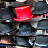 In london old red ha t and black  the  fashion shop Royalty Free Stock Image