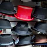 in london old red hat     and black  the  fashion shop Royalty Free Stock Photography