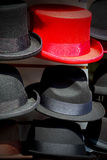 In london old red hat and black  the  fashion shop Stock Photos