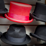 in london old red hat and black  the  fashion shop Royalty Free Stock Photos
