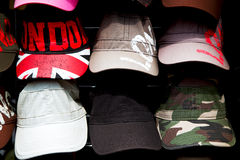 In london old red hat    and black   fashion shop Royalty Free Stock Images