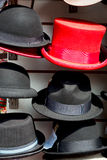 in london old red hat   fashion shop Stock Photo
